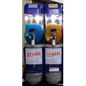 Slush Machine 2 Tanks - with stock - slush mix, cups, lids & spoonstraws.